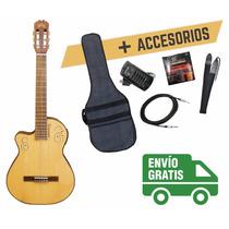 Guitarra Clásica La Alpujarra 300 Kec P/ Zurdo C/ Accesorios