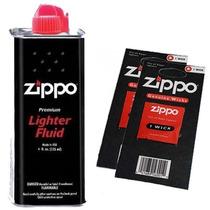 Combo Zippo 1 Fluido Bencina Premium 125 + 2 Mechas Original