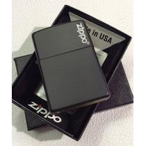 Encendedor Zippo Negro Liso Con Logo Made In Usa 28050