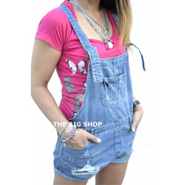 Jardinero Enterito De Jeans Roturas Corto Mujer