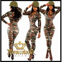 Sexy Body Catsuit Jumpsuit Camuflado Militar Importado