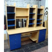 Escritorio Pc Alzada - Módulo Biblioteca Con Puertas
