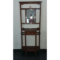Mueble Recividor Perchero Con Espejo De Algarrobo