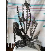 Escultura En Hierro Forjado Sirena Algas Y Peces