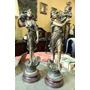 Hermoso Antiguo Par D Estatuas Petit Bronce Art Nouveau 75cm