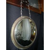 Antiguo Espejo De Colectivo Panorámico Marco De Bronce