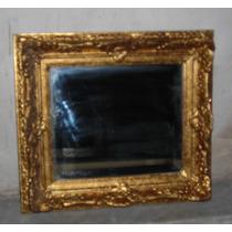 M2 Viejo Espejo Marco Madera Dorado A La Hoja Con Oro