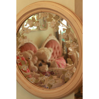 Espejo Marco Madera Redondo Pintado A Mano