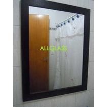 Espejo Con Marco De Madera P/decoración O Baño 1,00x0,80