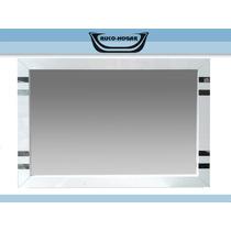 Espejo Peinador Detalle Acero Inox Blanco 100x70 Baño Living