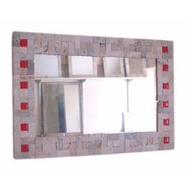 Espejo De Piedra Travertino Y Vitrofusión 60x40 Envío Gratis