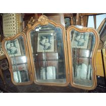 Espejo Triptico Provenzal Con Marco Dorado 76x103 (543)