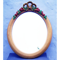 Historical*-espejo Ovalado Francés Con Rosas-pátina A Elegir