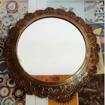 Precioso Espejo De Bronce Antiguo
