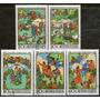 Mongolia Serie No Completa X5 Sellos Usados Dibujos Año 1981