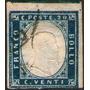 Italia Sello Usado Rey Victor Emmanuel 2° Año 1862