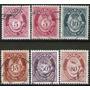 Noruega 6 Sellos Usados Cuerno Postal Con Cifras Años 1921+