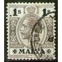 Malta Sello Usado Rey George V X 1 Schilling Años 1913-19