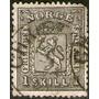 Noruega Muy Antiguo Sello Usado Escudo De Armas Año 1867