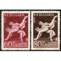 Bulgaria Serie X 2 Sellos Nuevos Mundial De Lucha Libre 1958