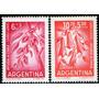 Argentina Serie Aérea X 2 Sellos Ayuda A Chile (flores) 1960