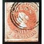 Chile, Sello Sc. 1 Colón 5c. 1era Londres 1853 Usado L6553