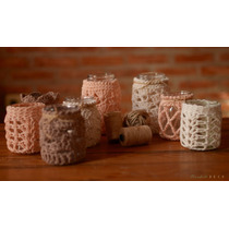 Frasco Souvenir Fanal Shabby Chic Crochet Vela Ñandutí Deco