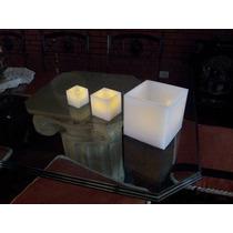 Set De Tres Fanales Con Velas Led Imitacion Llama