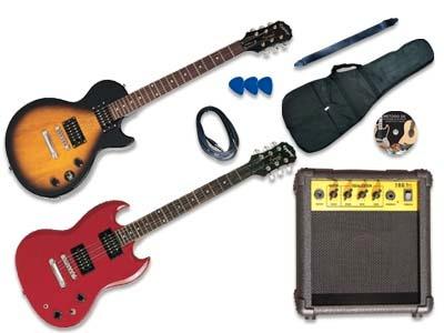 guitarra y amplificador les paul: