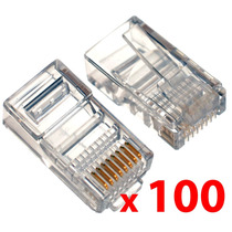 Ficha Rj45 X100 | Doble Contacto | Para Cable Red Utp | Plug