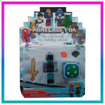Blister Minecraft Muñeco Bloque Y Accesorios Mundo Moda Kids