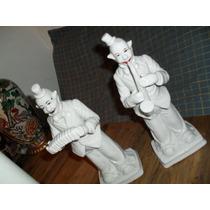 Payasos Musicos - Par En Porcelana Blanca Decorada A Mano