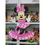 Cartel Cumpleaños - Minnie - Goma Eva 50 X 36 Cm