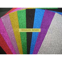 Goma Eva Super Glitter Pack X 5 Colores A Elegir 40 X 60 Cm