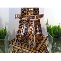 Torre Eiffel 125cm Mdf 3mm + 10 Torres 2d De20cm De Regalo