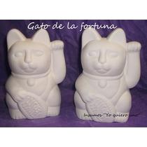 Gato De La Fortuna En Yeso Para Pintar