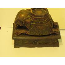 Elefante-talla En Madera-importado-c/cajoncito Inferior