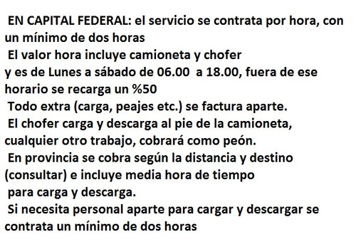 Fletes Económicos Flores, Floresta, Liniers, Devoto, V.luro