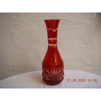 1234 B-hermoso Florero En Cristal Encamisado Rojo Rubi