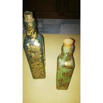 Botellas Decoradas A Mano. Artesanales P/ Decoración.-