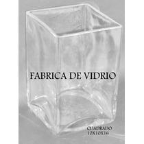 Floreros Y Fanales Cuadrados De Vidrio De 10x10x16
