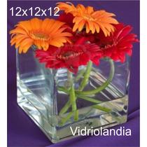 Floreros Y Fanales Cuadrados De Vidrio De 12x12x12