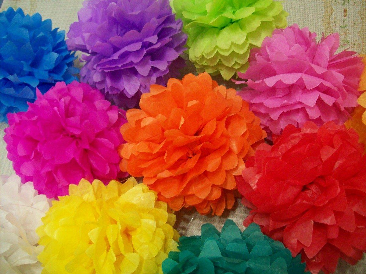 Flores en papel seda imagui - Pompones con papel de seda ...