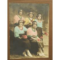 Antigua Foto Coloreada Mujeres Jovenes Año 1928