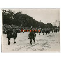 Antigua Foto Militar Desfile A Caballo Ejercito Argentino
