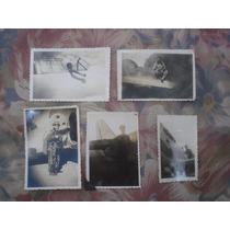 Lote De 5 Fotos Antiguas De Militares-aviacion-aviones