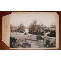 Fotografia Antigua Puerto De Hamburgo Barcos Alemania 1875