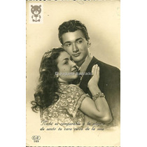 Pareja Abrazada Foto Postal Romantica 1951 Antigua Amor