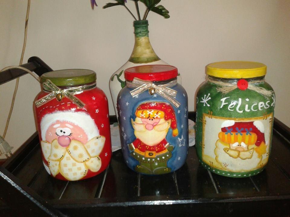 Pin frascos decorados con angelito porcelana genuardis - Frascos de vidrio decorados ...