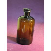 Antiguo Frasco De Farmacia Color Ámbar